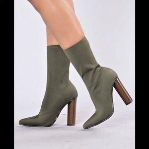 Cape Robbin Olive Green Sock Booties Thick Heel